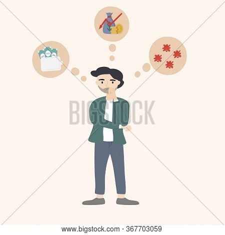 Concept Of Stress, Tension And Migraine. Young Man Was Pondering The Failed And Business Stress Of T