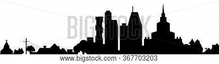Big City With Suburbs Black Silhouette Isolated. Vector Illustration.