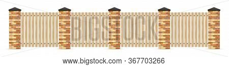 Wooden Fence With Brick Pillars Isolated On White. Brick Fence With Wooden Boards. Vector Illustrati