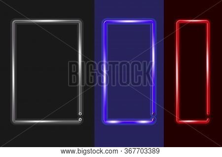 Three Vertical Frames Of Different Widths Glowing Neon Sign Or Led Strip Light. Realistic Vector Ill