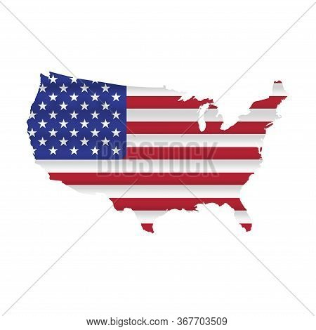 Detailed Usa Flag Map. Waving Flag Of The United States, Us Map Background, With Masked Flag. Vector