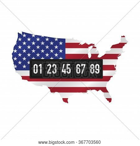 Detailed Usa Map With Masked Waving Flag And Black Analog Counter. Number Of Voters Concept. Preside