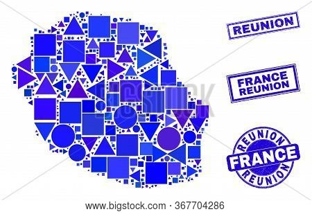 Vector Mosaic Reunion Island Map. Geographic Plan In Blue Color Tints, And Corroded Round And Rectan