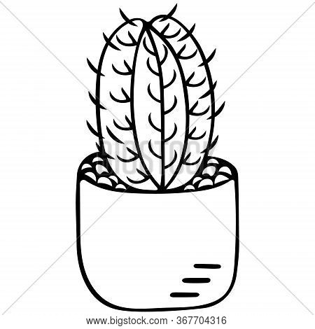 Cactus In A Pot. Indoor Plant With Thorns. Monitor Electromagnetic Radiation Protection. Vector Illu