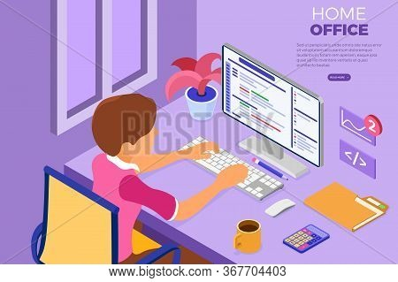 Software Engineer Developing Program. Man Sits At Computer Table And Programs In Home Office. Develo
