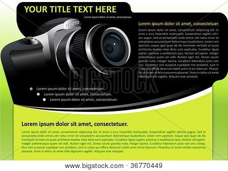 Vector brochure or poster background with digital camera