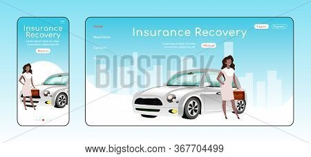 Insurance Recovery Responsive Landing Page Vector Template. Legal Service Homepage Layout. One Page