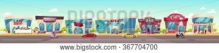 City Sidewalk Flat Color Vector Illustration. Fashion Boutique. Supermarket Exterior. Bar Facade. Co