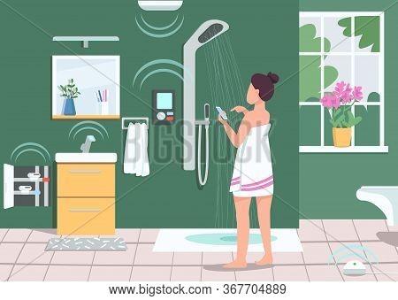 Smart Bathroom Appliances Flat Color Vector Illustration. Girl Controlling Shower With Smartphone. I