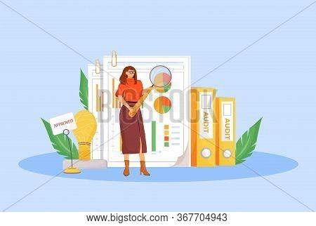 Financial Audit Flat Concept Vector Illustration. Professional Financier, Business Analyst 2d Cartoo