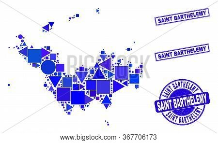 Vector Mosaic Saint Barthelemy Map. Geographic Collage In Blue Color Tones, And Dirty Round And Rect