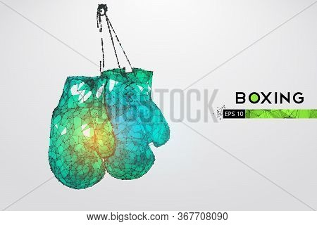 Abstract Silhouette Of A Wireframe Boxer Gloves On The White Background. Boxing Sports Equipment. Bo