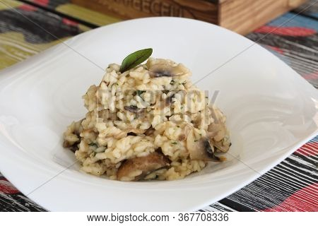 Risotto. Risotto With Mushrooms. Rice With Mushrooms