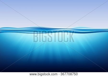 Sea Landscape With Underwater Space. Vector Illustration With Deep Underwater Ocean Scene. Blue Wate