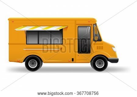 Food Truck Vector Mock-up For Car Branding And Advertising. Realistic Fast-food Van Template For Moc