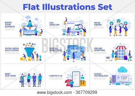 Seo Analysis, Startup, Digital Marketing, Cloud Technology And Sales Funnel Flat Vector Illustration