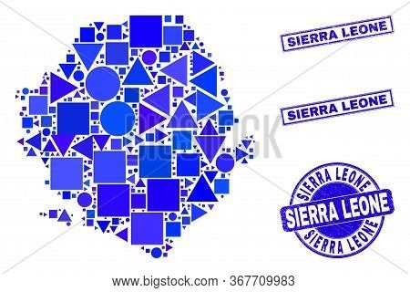 Vector Mosaic Sierra Leone Map. Geographic Collage In Blue Color Tones, And Grunge Round And Rectang