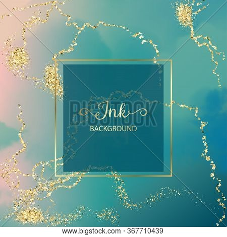 Gold Frame On A Luxurious Background With Ink Waves And Gold Marble Style Veins