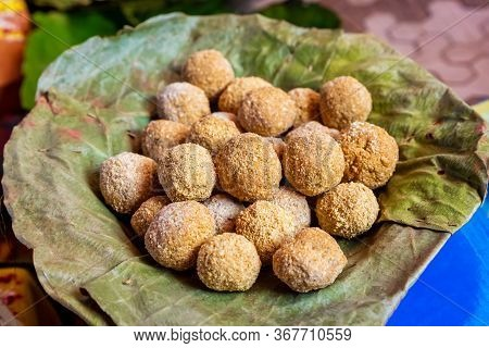 Nepali Traditional Food Kasar Made Of Sugar And  Fried Rice Floor. It Is Very Important In Wedding A