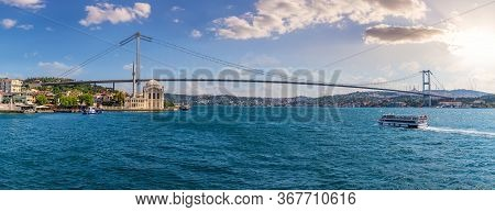 The Bosphorus Bridge Or The 15 July Martyrs Bridge Panorama, Istanbul, Turkey