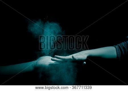Concept Of Coronavirus Germs Passing Between People In Visible Infection Particles On Hands