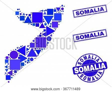 Vector Mosaic Somalia Map. Geographic Plan In Blue Color Shades, And Unclean Round And Rectangle Sea