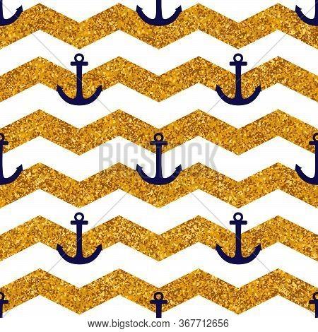 Tile Sailor Vector Pattern With White Stripes, Gold Background And Blue Anchor For Seamless Decorati