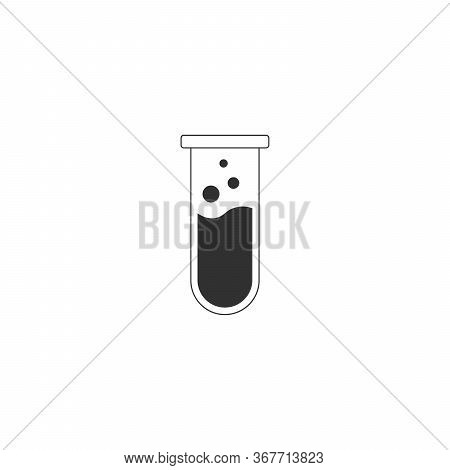 Test Tube Icon. Flat Chemical Test Tube Icon. Chemical Lab Equipment. Experiment Flasks For Science