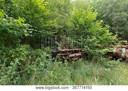 Parts Of A Rusty Truck Chassis Visible Through Bushes, Grass And Trees
