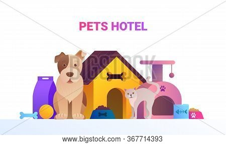 Pets Service Cartoon Banner. Welcome To Animal Store Concept With Cute Dog And Cat. Pet Hotel, Shop
