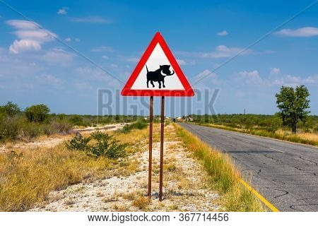 Warthogs Crossing Warning Road Sign Placed Along A Road Near Etosha National Park In Namibia.