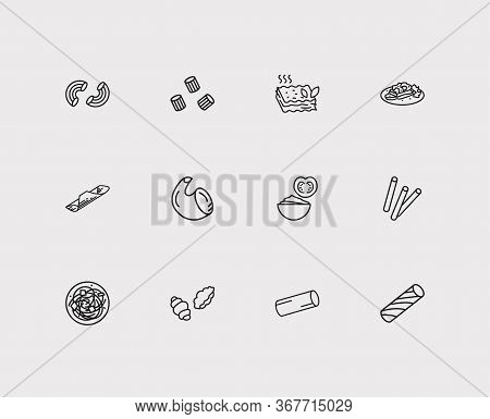 Traditional Meal Icons Set. Garganelli Pasta Shape And Traditional Meal Icons With Pasta Shape, Maca