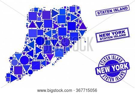 Vector Mosaic Staten Island Map. Geographic Collage In Blue Color Tinges, And Corroded Round And Rec
