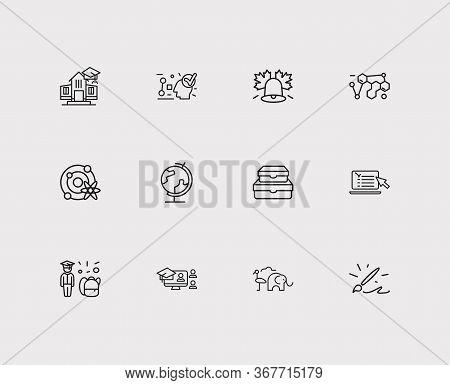 Distant Education Icons Set. Organic Chemistry And Distant Education Icons With Globe, Logics And On