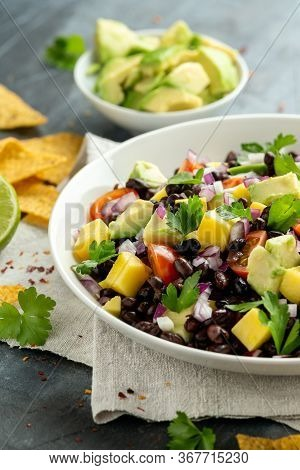 Avocado, Mango Salad With Black Bean, Tomato, Red Onion And Tortilla Chips. Healthy Food