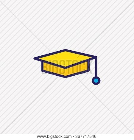 Illustration Of Graduation Cap Icon Colored Line. Beautiful Science Element Also Can Be Used As Mort