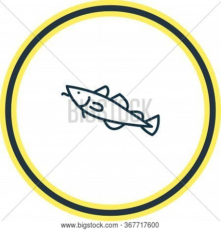 Vector Illustration Of Cod Icon Line. Beautiful Animals Element Also Can Be Used As Fish Icon Elemen