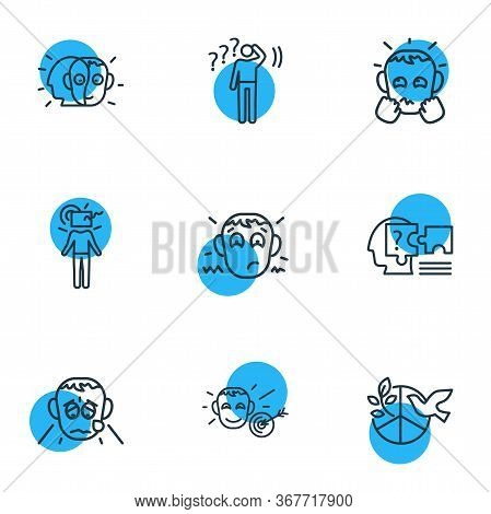 Vector Illustration Of 9 Emoticon Icons Line Style. Editable Set Of Grieving, Problem Solving, Alter