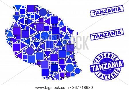 Vector Mosaic Tanzania Map. Geographic Scheme In Blue Color Shades, And Scratched Round And Rectangl