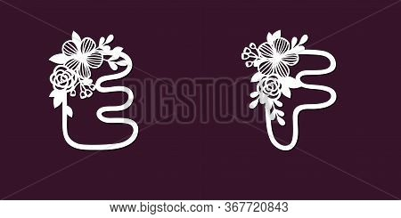 Two Lace Templates For Cutting Letters E And D With Tender Wildflowers. Paper Art. Die Cutting For S