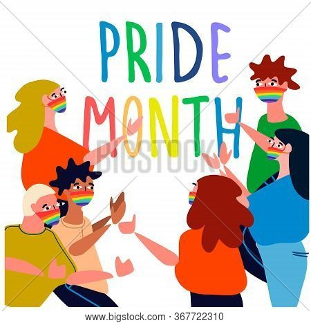 Pride Month Concept. Cheerful People Celebrating Pride Parade. Vector Illustration In Flat Style. Se