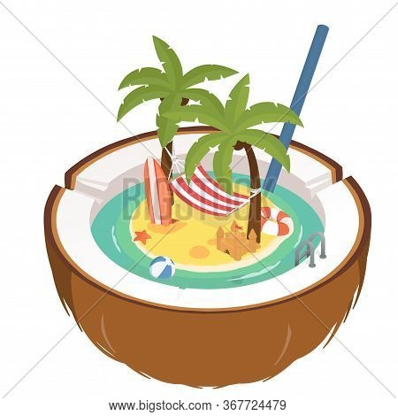 Summer Holidays Isometric, Illustration. Stock Vector. Colorful Beach With Palm Trees, Beach Hammock