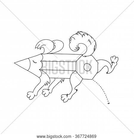Peeing Dog. Stub Of A Pencil. Pencil In The Form Of A Dog. Art-object. Cartoon Character Dog Pencil