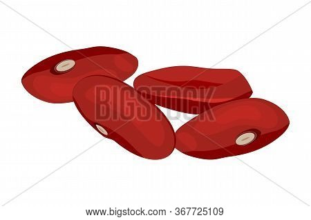 Red Beans Isolated On White Background. Set Of Brown Kidney Beans. Pile Adzuki Bean. Kidney Beans Fl