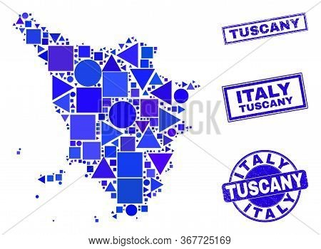 Vector Mosaic Tuscany Region Map. Geographic Collage In Blue Color Tones, And Corroded Round And Rec