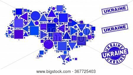 Vector Mosaic Ukraine Map. Geographic Scheme In Blue Color Shades, And Unclean Round And Rectangle S