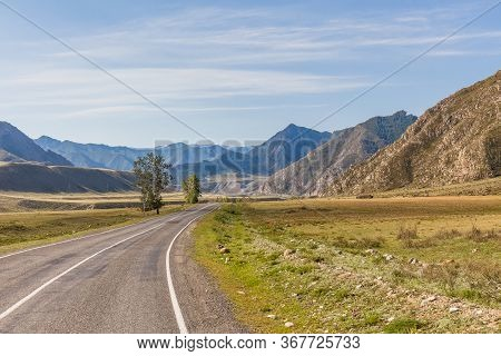 Summer In Altai Russia, Road To Altai Mountains, Beautiful Summer Viewof Altai Mountains.