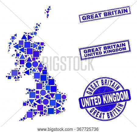 Vector Mosaic United Kingdom Map. Geographic Collage In Blue Color Tones, And Rubber Round And Recta