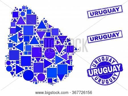 Vector Mosaic Uruguay Map. Geographic Scheme In Blue Color Tints, And Unclean Round And Rectangle St