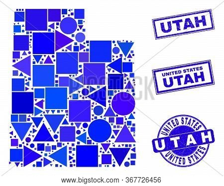 Vector Mosaic Utah State Map. Geographic Collage In Blue Color Tinges, And Unclean Round And Rectang